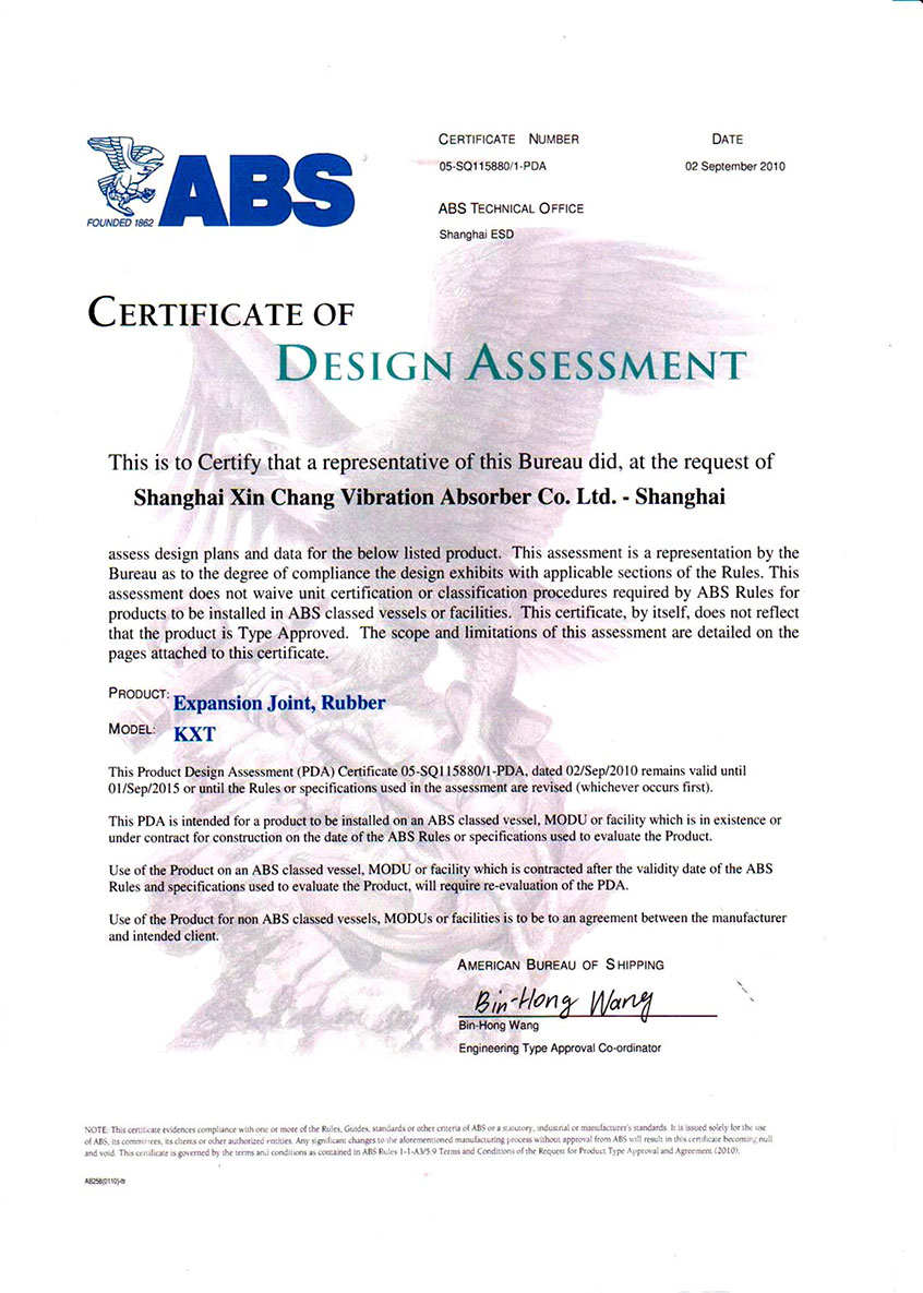 certificate of design assessment(ABS)
